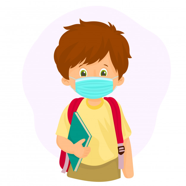 little schoolboy wearing face mask back to school illustration 61841 1421